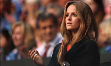 Kim Sears watches her boyfriend Andy Murray play at Wimbledon