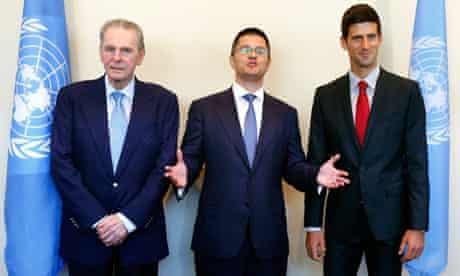 Jacques Rogge, Vuk Jeremic and Novak Djokovic