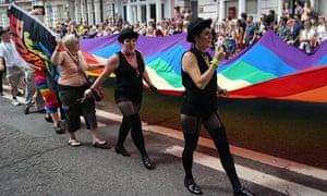 Gay Pride parade participants in Brighton