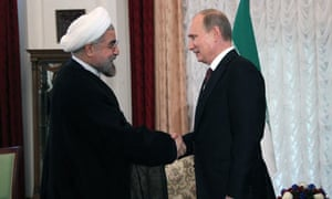 The Russian president, Vladimir Putin, meets the Iranian president, Hassan Rouhani.