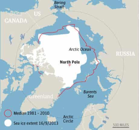 Arctic sea ice extent September 2013.  Photograph: guardian.co.uk