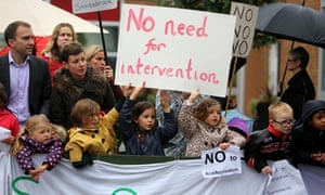 Parents and students protesting at Meadow primary school