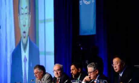United Nations secretary general Ban Ki-moon addresses the IPCC