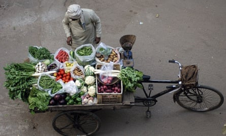 A vegetable vendor in India