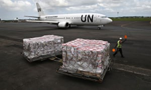 MDG : Ebola crisis : UN funding and supplies : Ebola relief aid sits on the tarmac in Liberia