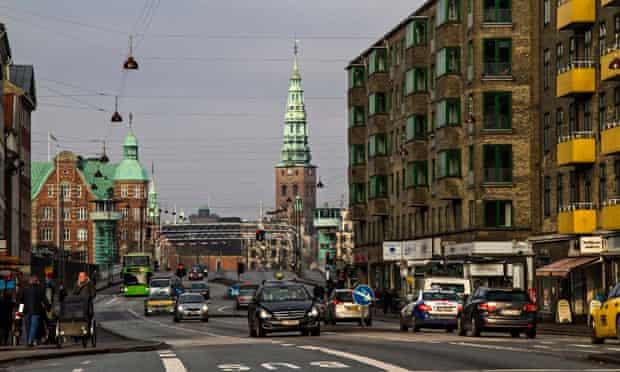 Road traffic in the Christianshavn district of Copenhagen, Denmark