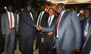 MDG : South Sudan talks in Arusha :  Salva Kiir, Riek Machar and Tanzania President Jakaya Kikwete