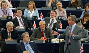 UKIP leader Farage addresses the European Parliament during a debate in Strasbourg