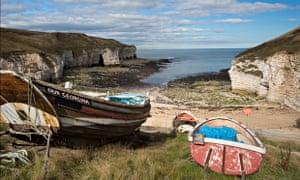 Mombiot blog on sea protection : Fishing boats near the beach at Flamborough head Yorkshire