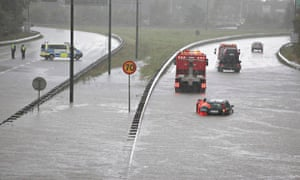 Extreme weather in Sweden :  flooded road in Malmo