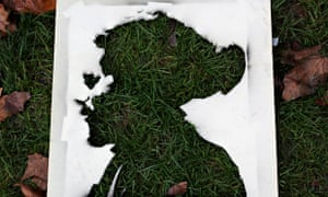A cutout portrait of Remi Fraisse  who died during protest against dam at Sivens, France