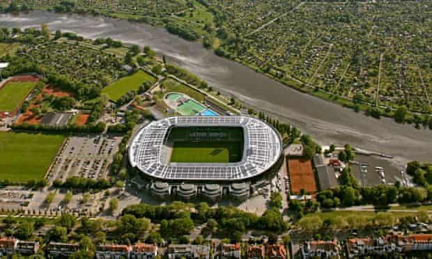 Aerial view, Weserstadion, stadium with solar panels on the roof, Bremen, Germany