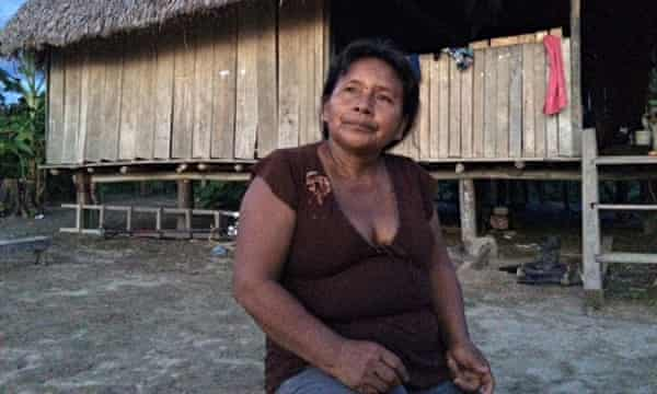 Kukama  on the shore of Maranon river affected by oil spill in Amazon rainforest of Peru