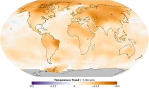 Global weather and climate change or global warming : Global temperature trend between 1950 and 2013