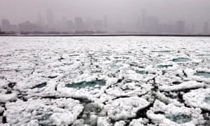 Extreme weather and polar vortex : Chicago Lake Michigan  during deep freeze
