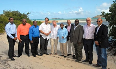 Richard Branson poses with Caribbean island leaders during the Creating Climate Wealth Summit (CCW)
