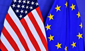 EU-US trade agreement and its impact on environment : eu flag and US flag