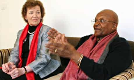 Desmond Tutu and Mary Robinson members of The Elders are a group of eminent global leaders