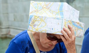 Elderly suffers with hot weather and heatwave