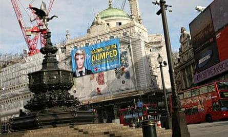 APP and deforestation in Indonesia : Greenpeace Barbie campaign in Picadilly  Circus