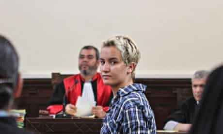 MDG : Gender inequalities in Africa : feminist Amina Sboui  in a courtroom in Sousse, Tunisia