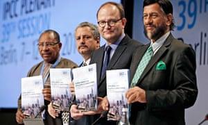 Rajendra Pachauri  and Working Group III IPCC Climate Report in Berlin