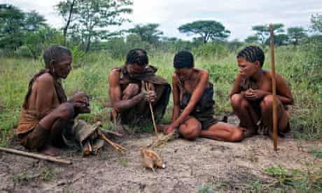 Bushman Hunters in Kalahari dersert