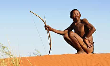 Bushman hunters in Kalahari desert, Botswana