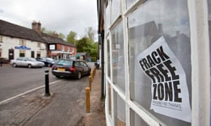 Anti fracking sign in a window at Balcombe, West Sussex