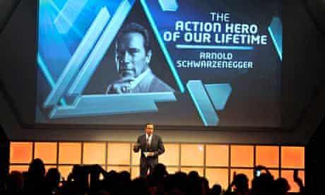 Arnold Schwarzenegger on stage during Jameson Empire Film Awards 2014