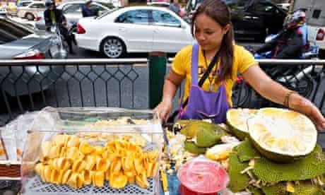 Jackfruit is sold cook on Bangkok street, Thailand.