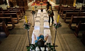 MDG : Anti- abortion display of coffins containing foetuses in a church  in Chile