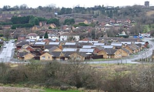 Solar Energy : Houses of local authority estate fitted with solar panels, Newport, South Wales,
