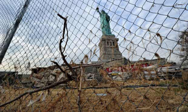 US' landmark sites at risk from climate change : The Statue of Liberty damaged by Hurricane Sandy
