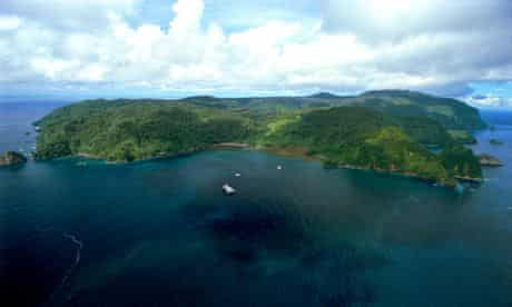 Aerial view of Cocos Island in Costa Rica
