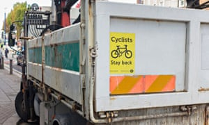 Bike Blog : Sign on a large lorry warning cyclists to stay back, UK