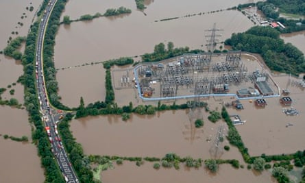 Flooded Walham power station, Gloucestershire
