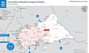 MDG : Central African Republic Emergency Situation map : CAR refugees and IDP