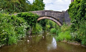 Country Diary : River Brue and old foot bridge in Bruton, Somerset
