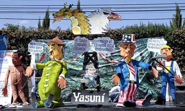 Dolls representing the oil exploitation in the Yasuni Natural Park