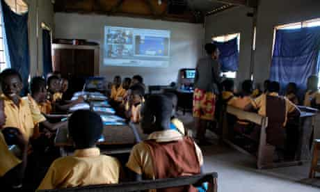 MDG: A distance-learning classroom in Mataheko primary school in Ghana