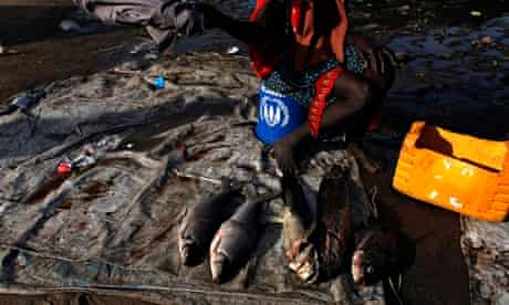 MDG : Food crisis looming in Africa : A woman sits on a UNHCR bucket selling fish