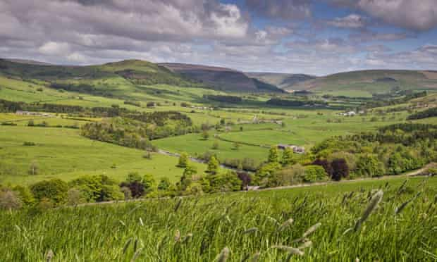View across Hodder Valley with River Hodder in Forest of Bowland, Lancashire ( fracking and water)