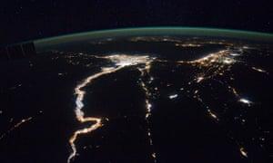 Geoengineering : satellite view of Mediterranean Sea and Nile bassin at night