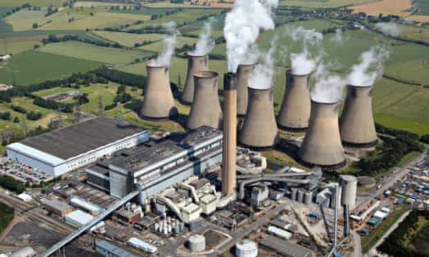 aerial view of Eggborough Power Station in Yorkshire, UK