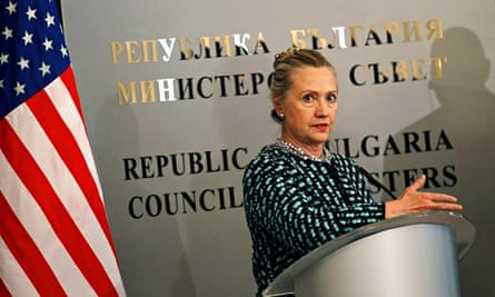 U.S. Secretary of State Hillary Clinton in Sofia, Bulgaria