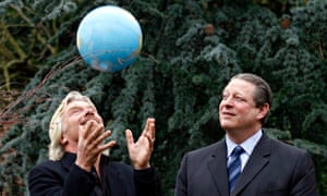 Airline tycoon Richard Branson with former US vice-president Al Gore