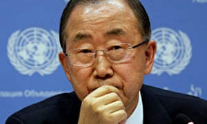 UN Secretary General Ban Ki-moon participates in a news conference about climate change meeting