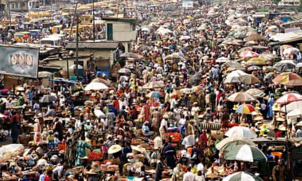 World population increase most in Africa: Crowded Oshodi Market in Lagos, Nigeria.