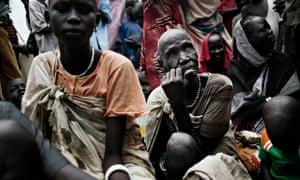 MDG : South Sudan IDPs in Pathai , Jonglei state : 60-year-old blind woman Nyagik Duok Riang
